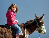 Mula del burro con el montar a caballo de la niña del cabrito feliz Foto de archivo