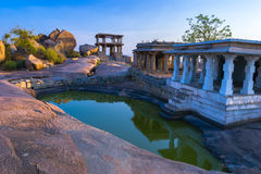 Mula Virupaksha Temple and small pool in Hampi Royalty Free Stock Images