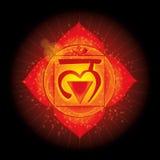 Muladhara Ícone de incandescência do chakra O conceito dos chakras usados no Hinduísmo, no budismo e no Ayurveda Para o projeto, ilustração stock