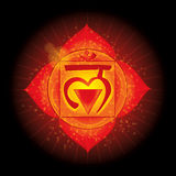 Muladhara. Glowing chakra icon . The concept of chakras used in Hinduism, Buddhism and Ayurveda. For design, Royalty Free Stock Photos