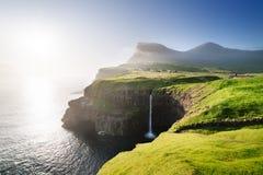 Mulafossur waterfall in Gasadalur, Faroe Islands