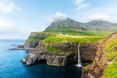 Mulafossur waterfall in Gasadalur, Vagar Island of the Faroe Islands