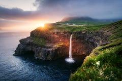 Mulafossur waterfall in Gasadalur, Vagar Island of the Faroe Islands.