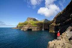 Mulafossur waterfall in Gasadalur. Vagar Island, Faroe islands