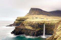 Mulafossur waterfall, Gassadalur village, Vagar island, The Faroe islands