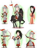 Mulan chinese hero illustrations Stock Images