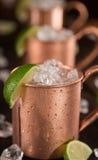 Mulas frias de Moscou - Ginger Beer, cal e vodca foto de stock royalty free