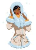Mulatta in winter clothes. Vector illustration of a elegant mulatta lady in winter clothes Stock Photos