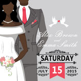 Mulatto bride and groom.Cute wedding invitation Royalty Free Stock Photo