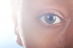 Mulatto eye. Sunny macro photo of a mulatto female eye Royalty Free Stock Photo