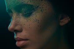 Mulatto girl with creative make-up Stock Image