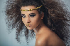 Mulatto girl with curly hair. Portrait Stock Photo