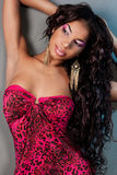 Mulatto girl with long hair Royalty Free Stock Images