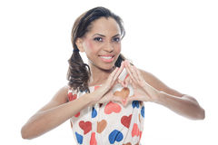 Mulatto model wearing with a Heart dress Royalty Free Stock Images