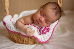 Mulatto newborn baby sleeping in basket Stock Photos