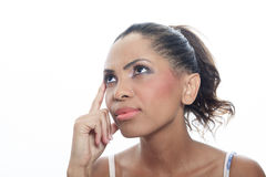 Mulatto person having a thinking situation Royalty Free Stock Image
