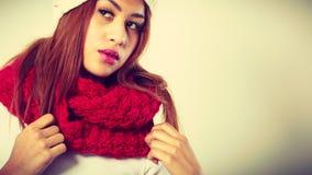 Mulatto woman wearing warm winter clothing, closeup Royalty Free Stock Image