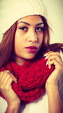 Mulatto woman wearing warm winter clothing Royalty Free Stock Photo