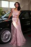 Mulatto woman wears luxurious dress,arrived on red carpet event Royalty Free Stock Photos