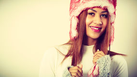 Mulatto woman in winter outfit. Stock Photos