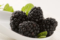 Mulberries in a bowl. Stock Photo