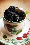 Mulberries in a cup. Mulberries in a ceramic cup , decorated with raspberries paintings Royalty Free Stock Photos