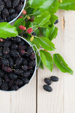 Mulberries in small buckets Royalty Free Stock Photography