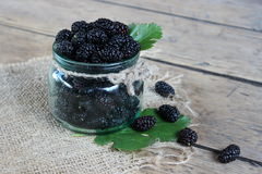 Mulberry berries in a jar stock photos