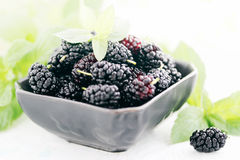 Mulberry on a black plate Royalty Free Stock Photo