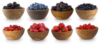 Mulberry, blueberry, blackberry, red currant, strawberry and raspberry. Sweet and juicy berry with copy space for text. Blue-black and red berries isolated on Stock Photography