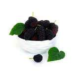 Mulberry in a dish with leaf Isolated on white background blackberry. Mulberry n a dish with leaf Isolated on white background. blackberry Royalty Free Stock Image