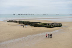 Mulberry Harbour. Remains of Mulberry harbor on the Gold beach in Normandy,arromanches,France stock photo
