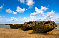 Mulberry Harbour. Remains of Mulberry harbor on Gold beach in Normandy, France royalty free stock photo