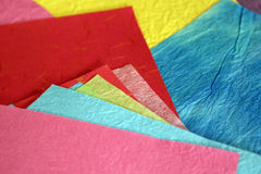 Mulberry Paper. Colorful mulberry paper of different sizes arranged so many colors can be seen Stock Image