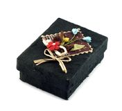 Mulberry Paper Black Box. With Artificial flower Hand made royalty free stock images