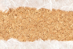 Mulberry paper on Cork texture Stock Photos