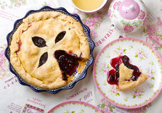 Mulberry pie. Top view stock photo