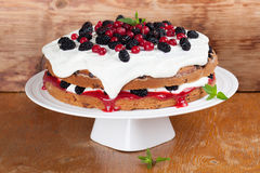 Mulberry and red currant cake with whipped cream. Mulberry and red currant cake with yogurt and whipped cream Stock Images
