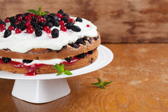 Mulberry and red currant cake with whipped cream. Mulberry and red currant cake with yogurt and whipped cream Stock Image