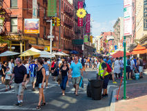 Mulberry Street in Little Italy, New York City Stock Image