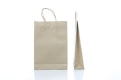 Mulburry paper bag on white background Stock Photos