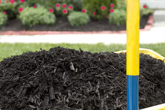 Mulch in Wheelbarrow. Waiting to be layed. Get moving Stock Photography