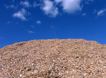 Mulch Wood Pieces Blue Sky Royalty Free Stock Photography