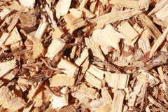 Mulch and woodchips with wood shavings and bark. Full frame of woodchips and bark shavings Stock Photo