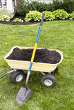 Mulching Around The House. Mulching the around the house with dumping cart and showel. Nice weekend project Stock Image