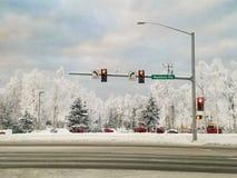 Muldoon Alaska Drogowa zima Obraz Royalty Free