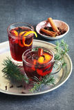 Muled wine with citrus,cinnamon,anise and brown sugar Royalty Free Stock Photo