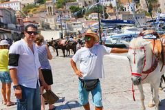 Mules of Hydra island - Greece islands Stock Image