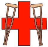 Muletas y símbolo de los primeros auxilios Imagen de archivo