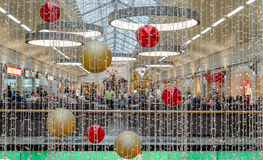 MULHEIM - 12月06日:在论坛的圣诞节装饰, 2014年12月06日在Mulheim德国 库存图片